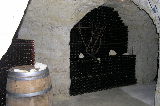 Cellar in tufa wines of Loire Vouvray